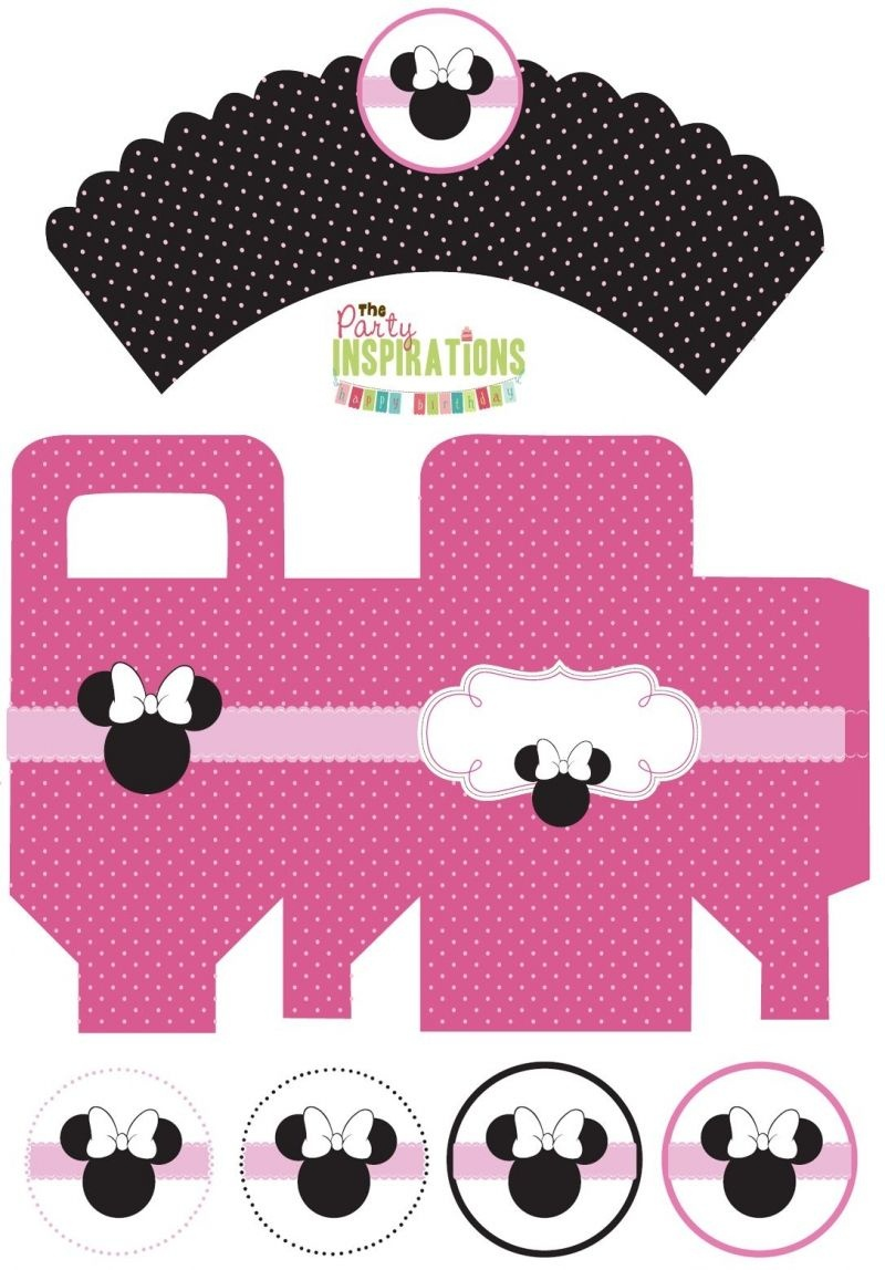 Free Minnie Mouse Party Printables - Cupcake Wrappers, Favor Boxes - Free Printable Minnie Mouse Cupcake Wrappers