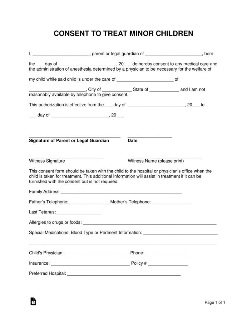 Free Minor (Child) Medical Consent Form - Word | Pdf | Eforms – Free - Free Printable Child Medical Consent Form