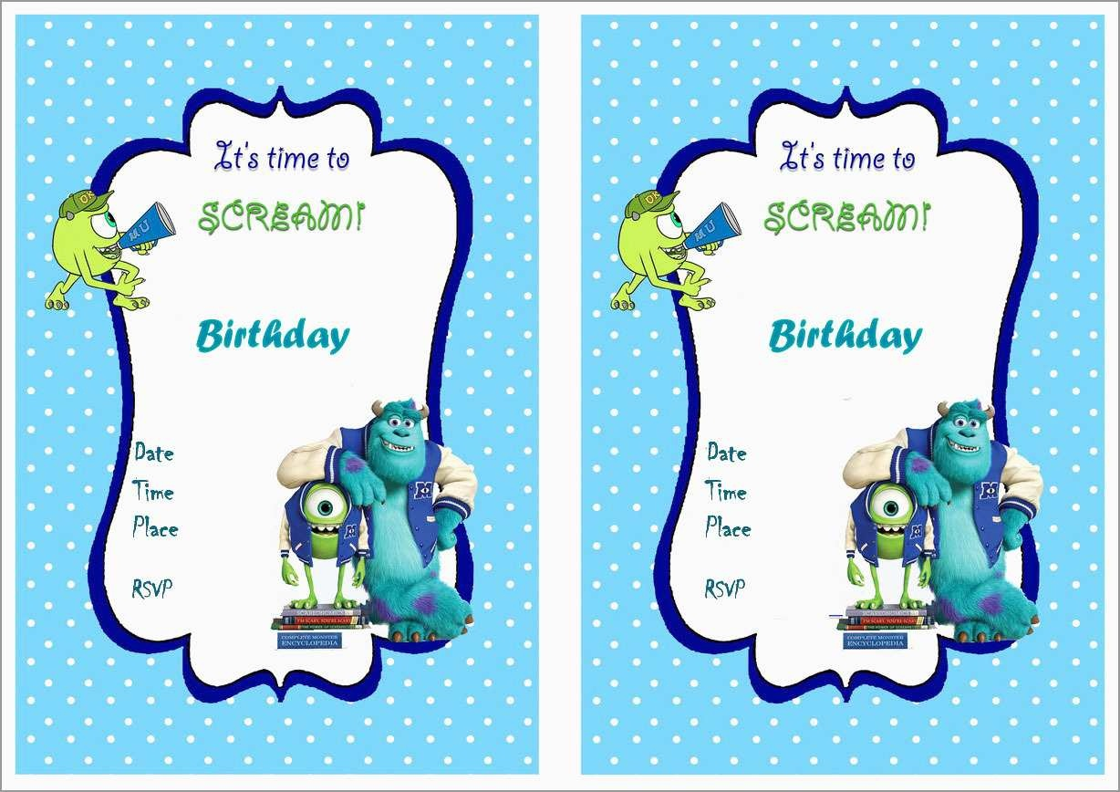 Free Monster Invitation Template Great 8 Best Of Monster Birthday - Free Printable Monsters Inc Birthday Invitations