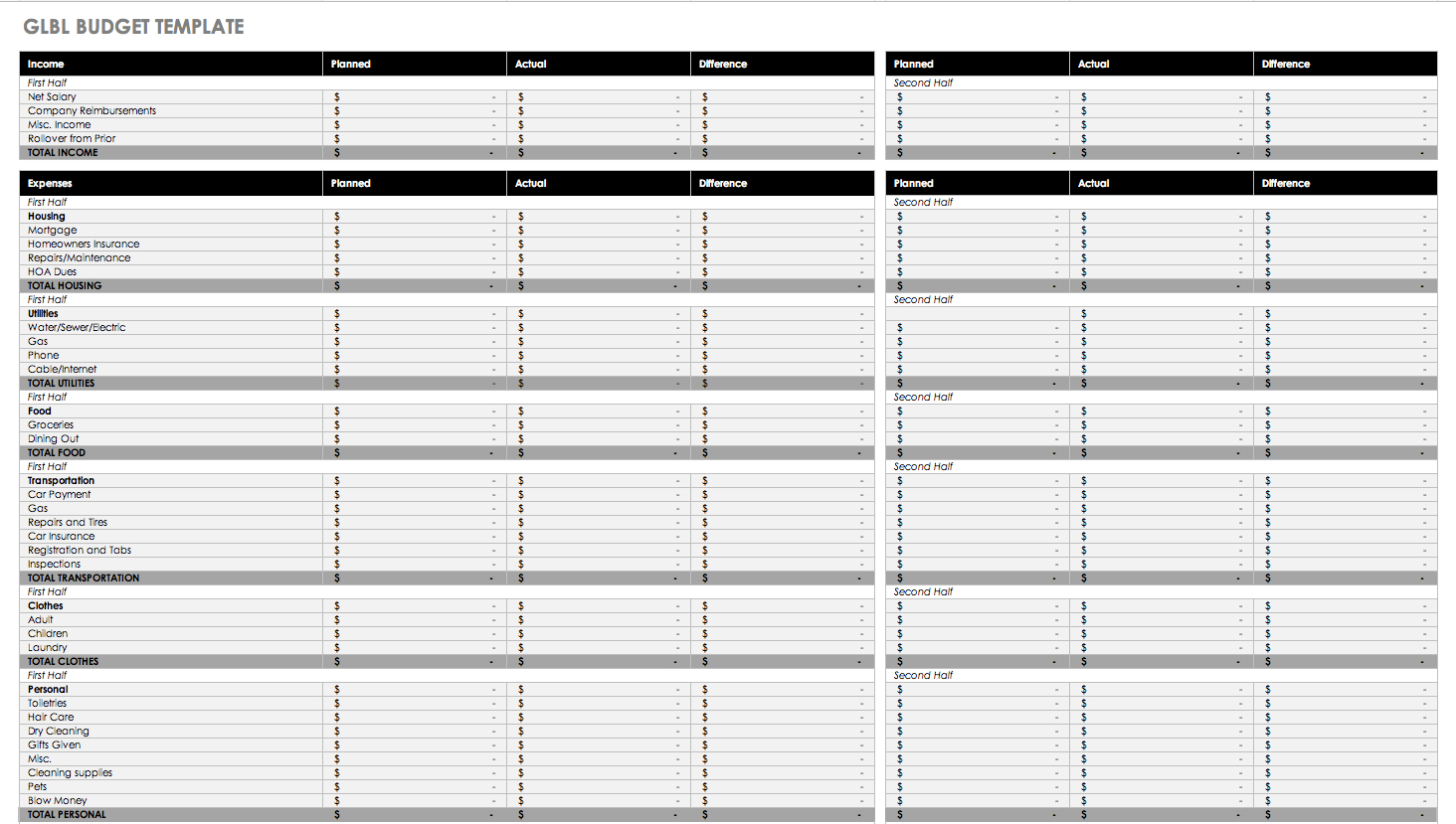 Free Monthly Budget Templates | Smartsheet - Free Printable Monthly Expenses Worksheet