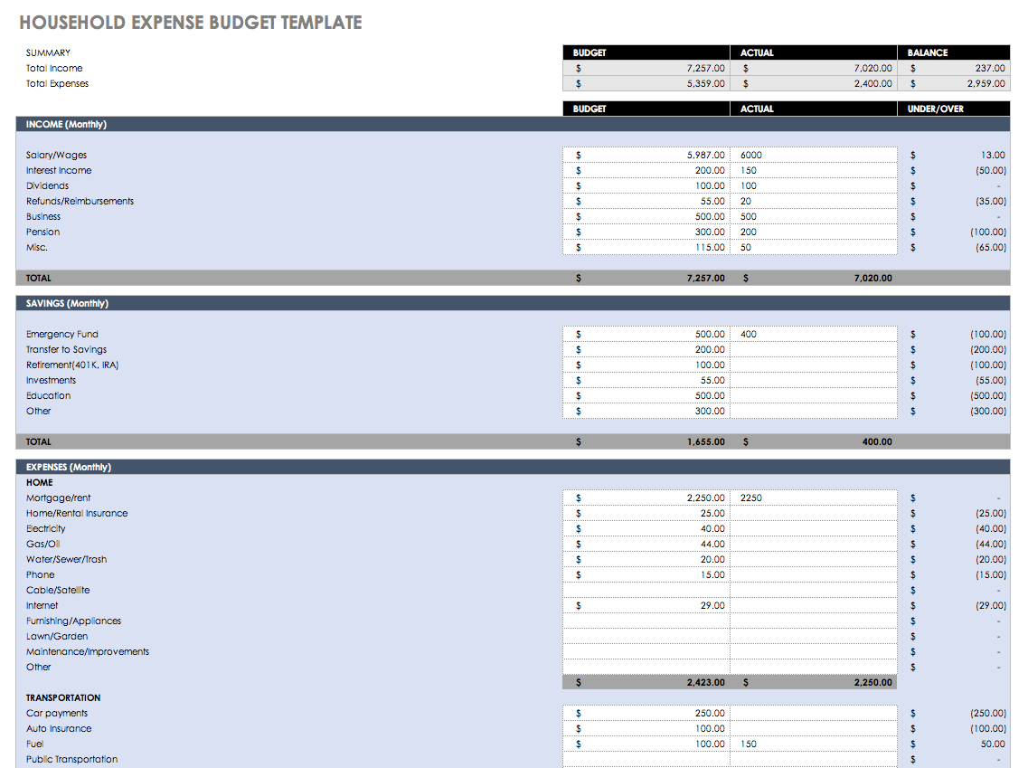 Free Monthly Budget Templates | Smartsheet - Free Printable Monthly Household Budget Sheet