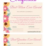 Free Mother's Day Printable Certificate Awards For Mom And Grandma   Free Printable Best Daughter Certificate