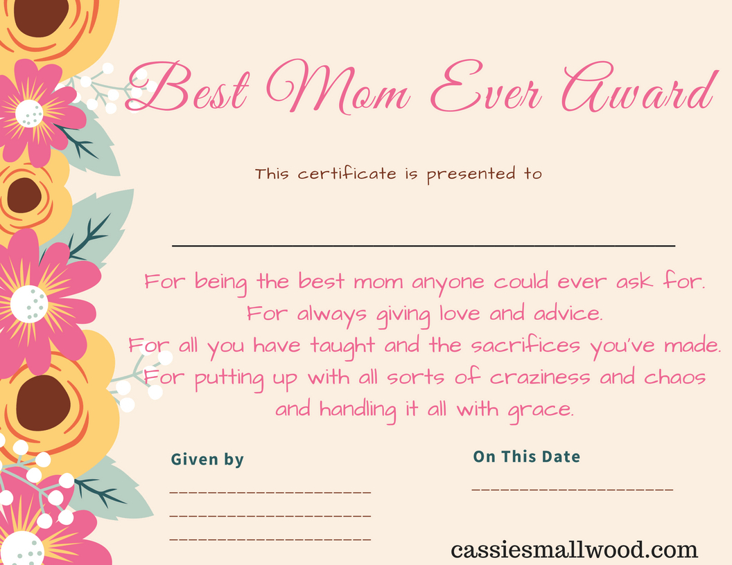 Free Mother's Day Printable Certificate Awards For Mom And Grandma - Free Printable Halloween Award Certificates
