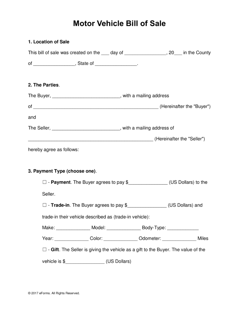 Free Motor Vehicle (Dmv) Bill Of Sale Form - Word | Pdf | Eforms - Free Printable Bill Of Sale For Car