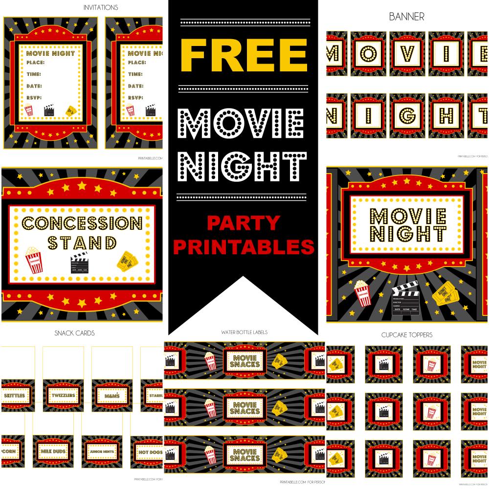 Free Movie Night Party Printablesprintabelle   Catch My Party - Movie Night Birthday Invitations Free Printable