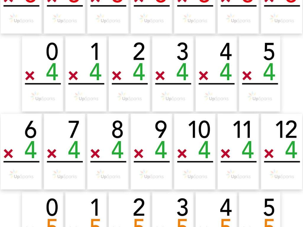 Free Multiplication Flash Cards Printable Sheets From Upsparks - Flash Cards Multiplication Free Printable