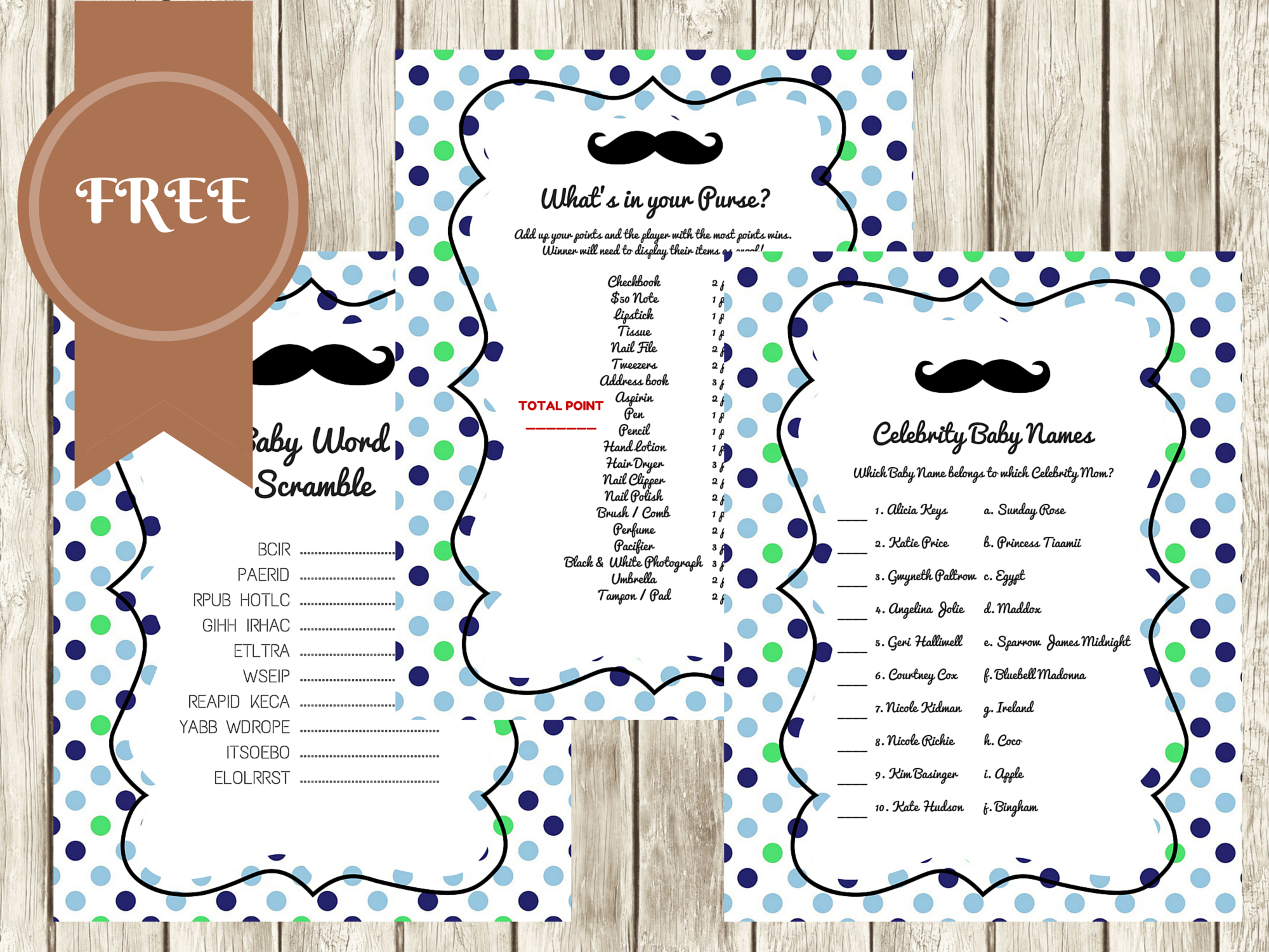 Free Mustache Baby Shower Games - Baby Shower Ideas - Themes - Games - Free Printable Baby Shower Game What's In Your Purse