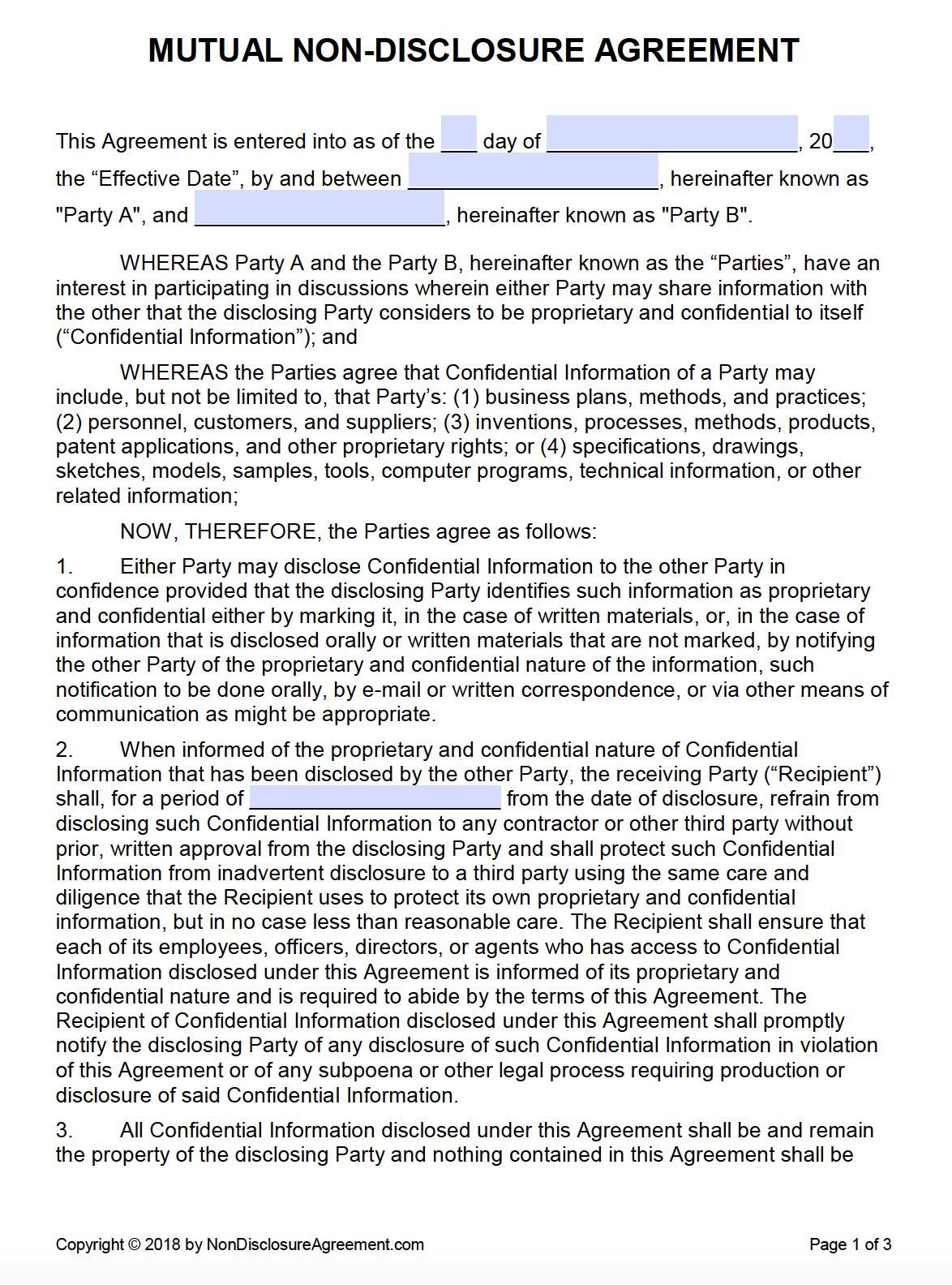Free Mutual Non-Disclosure Agreement (Nda) | Pdf | Word (.docx) - Free Printable Non Disclosure Agreement Form