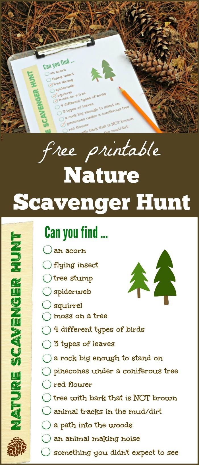 Free Nature Scavenger Hunt List {W/free Printable!} - Edventures - Free Printable Scavenger Hunt