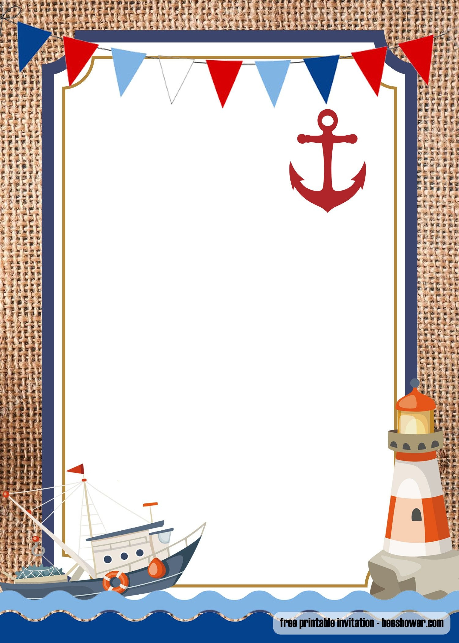 Free Nautical Theme Baby Shower Invitations Templates | Bagvania - Free Printable Sailboat Template
