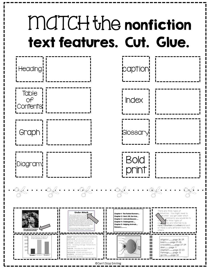 Free Nonfiction Text Features Matching Activity | Tpt Free Lessons - Free Library Skills Printable Worksheets