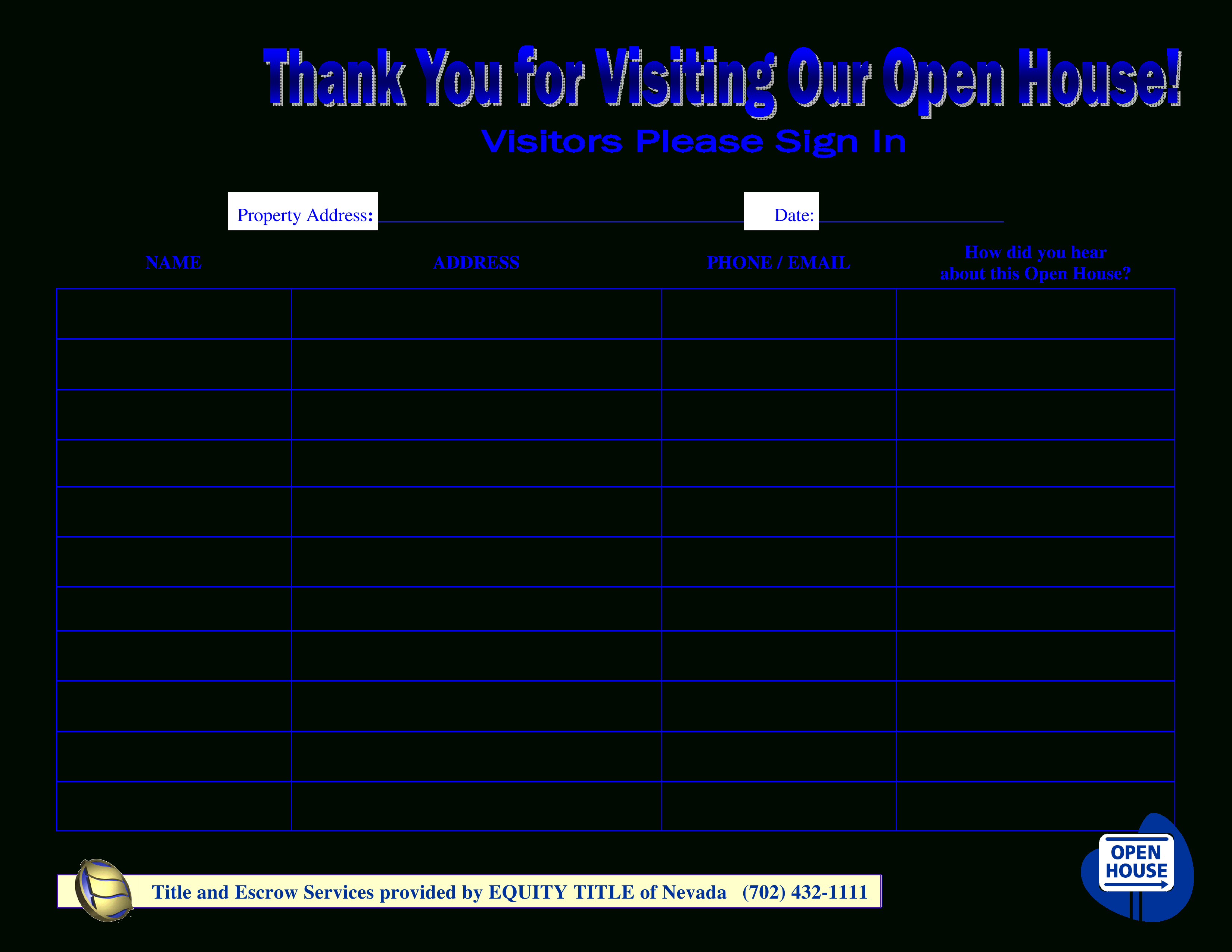 Free Open House Sign In Sheet New Free Visitors Open House Sign In - Free Printable Sign In Sheet Template