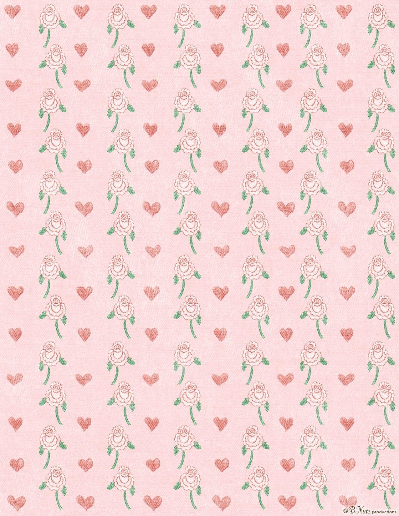 Free Paper Designs To Print | Free Printable Hearts 'n Flowers - Free Printable Scrapbook Paper Designs