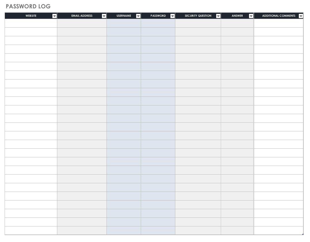 Free Password Templates And Spreadsheets   Smartsheet - Free Printable Password List