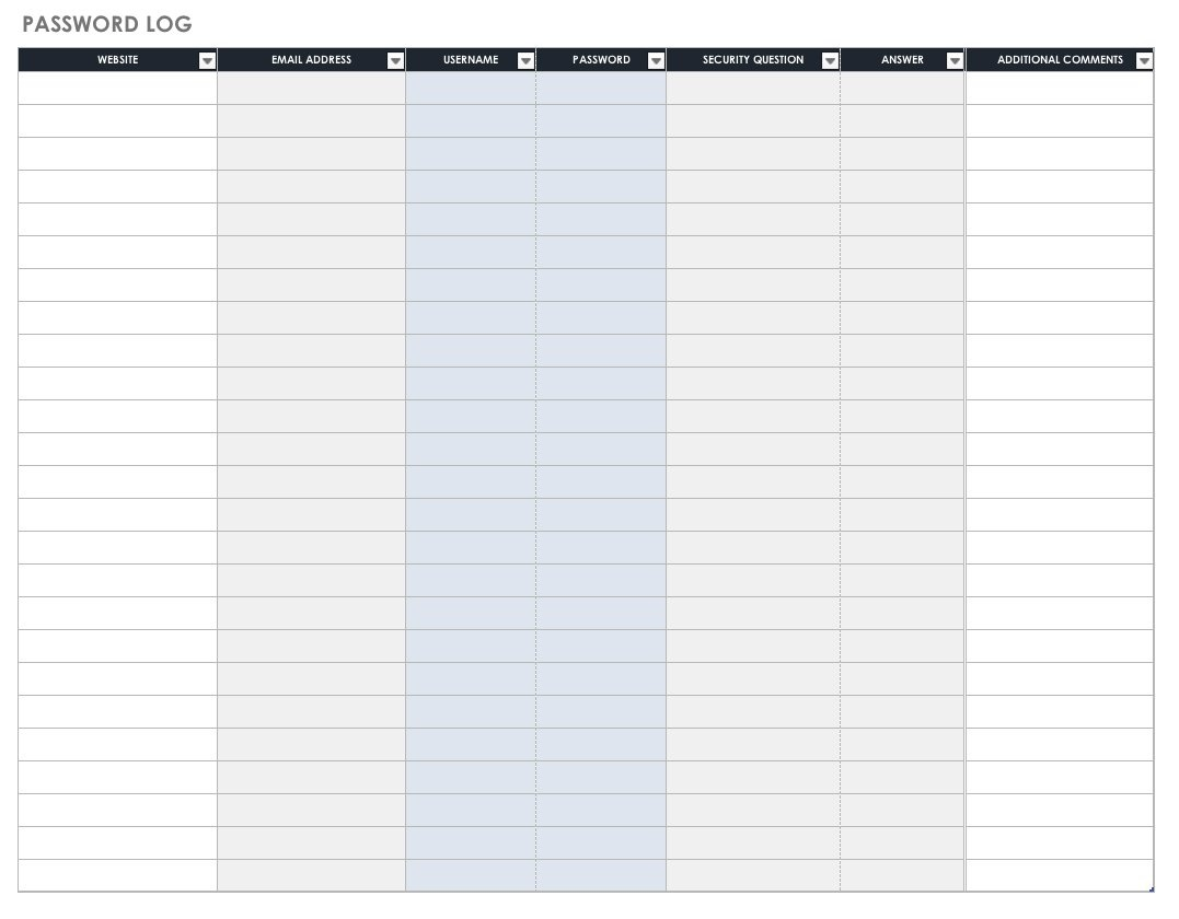 Free Password Templates And Spreadsheets | Smartsheet - Free Printable Password Log