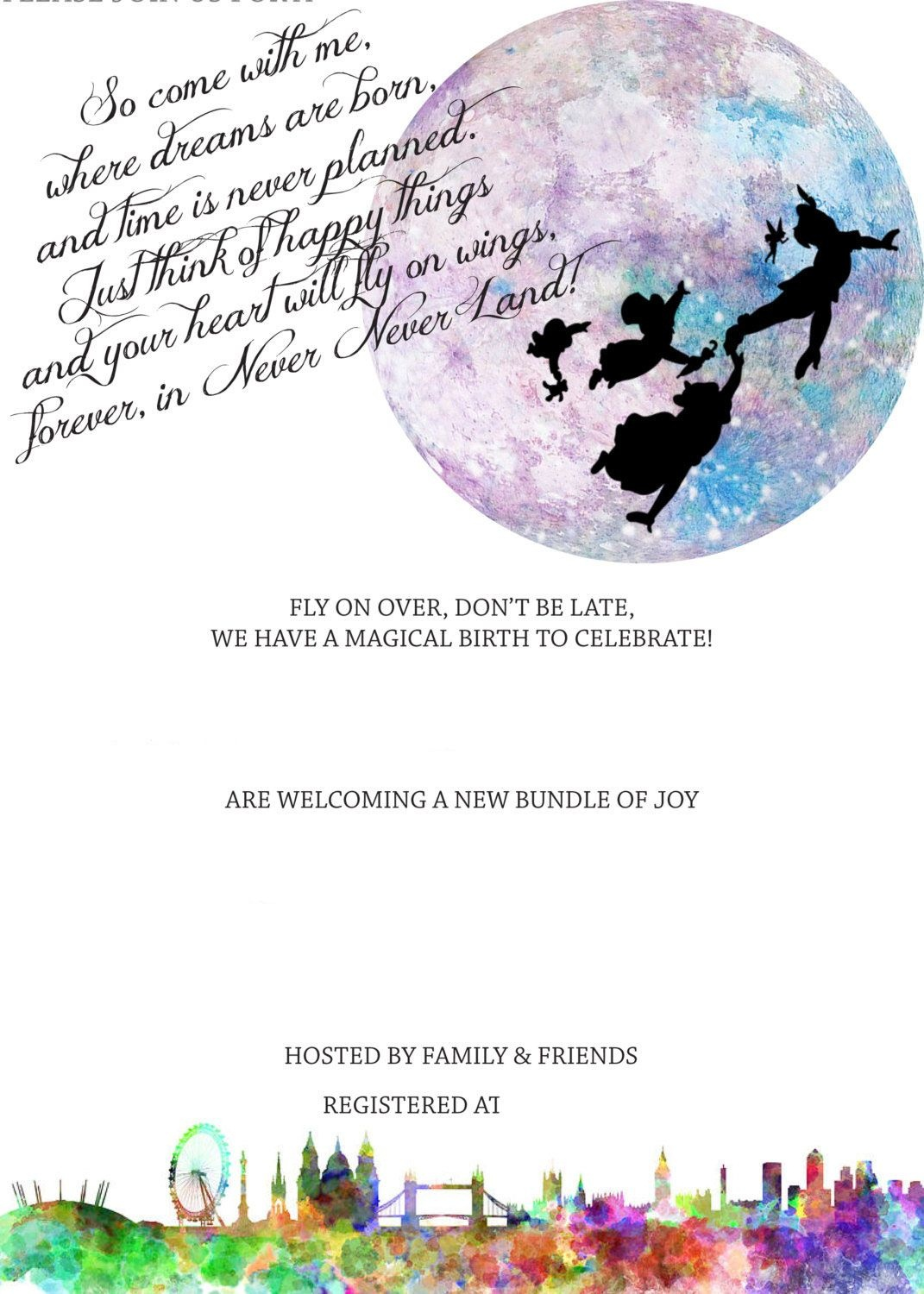 Free Peterpan In Neverland Baby Shower   Free Printable Birthday - Free Printable Tinkerbell Baby Shower Invitations
