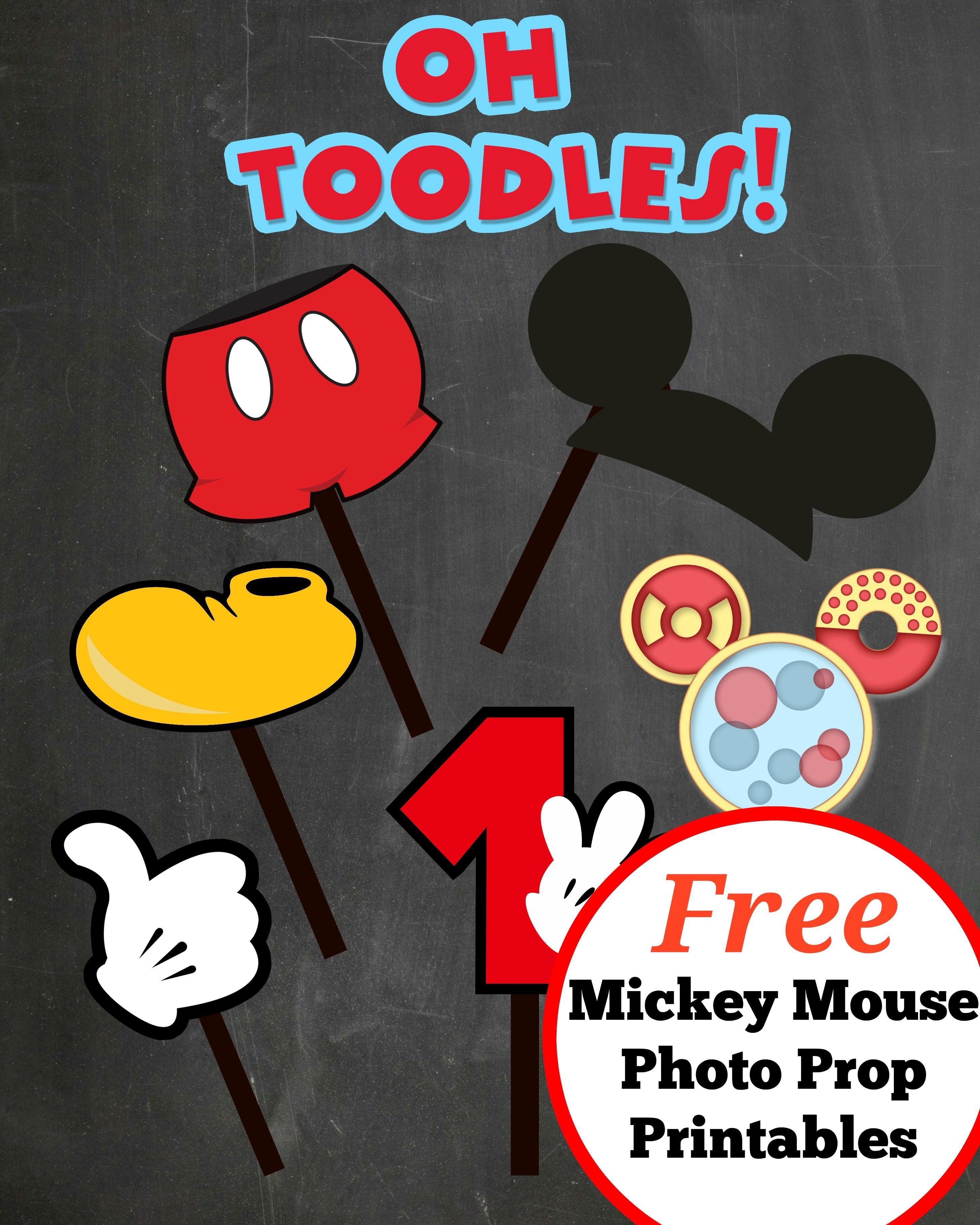 Free Photo Props Mickey Mouse Printable & Templates | 4Th Birthday - Free Printable Mickey Mouse Template