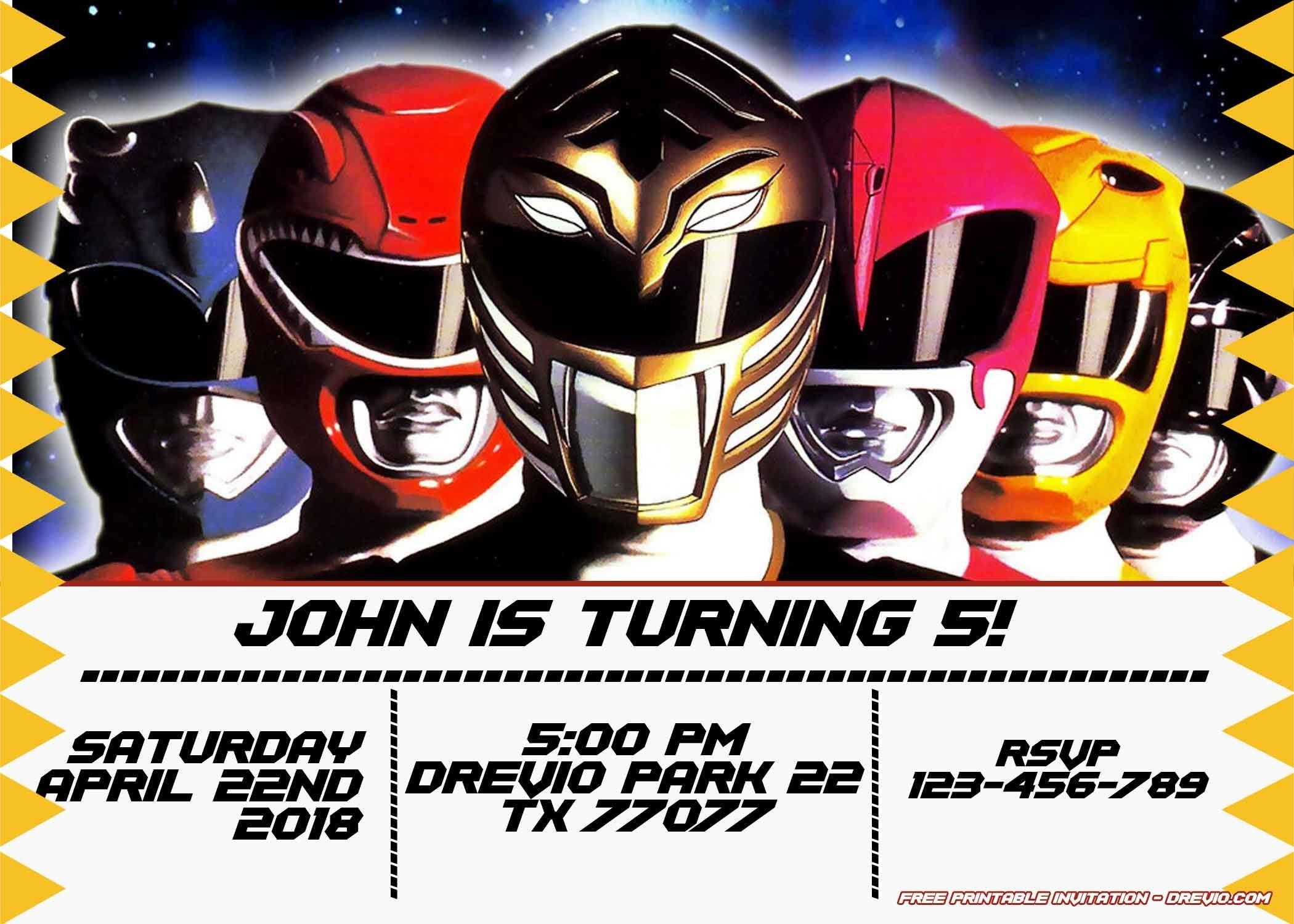 Free Power Rangers Birthday Invitation   Life's A Party   Power - Free Printable Power Ranger Birthday Invitations