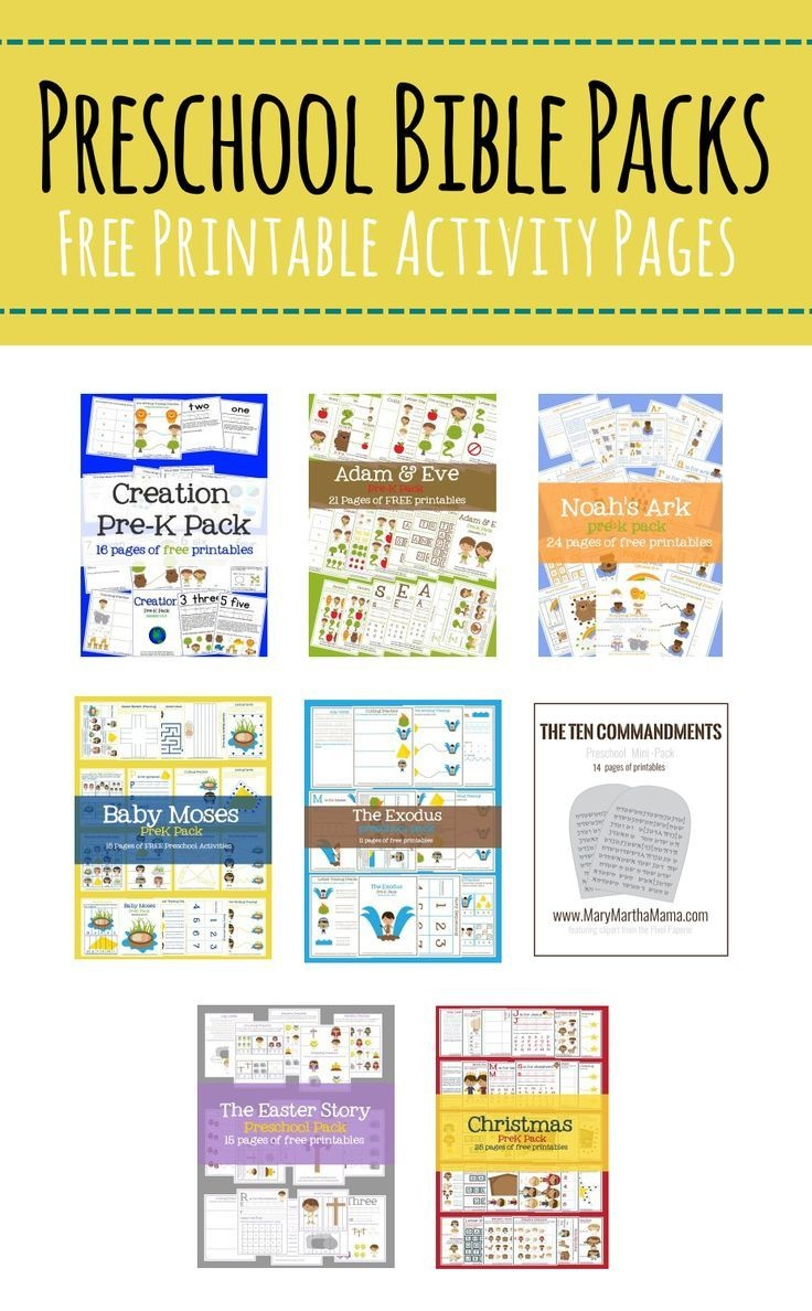 Free Preschool Bible Packs – Mary Martha Mama- Free Printable Bible - Free Printable Bible Lessons For Toddlers