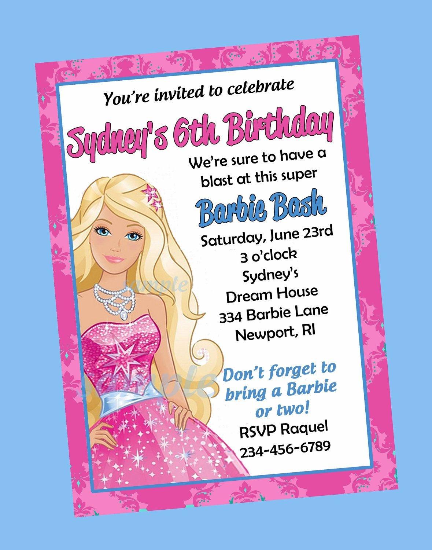Free Print Barbie Invitations | Birthday Invitations Printable And - Free Printable Barbie Birthday Party Invitations