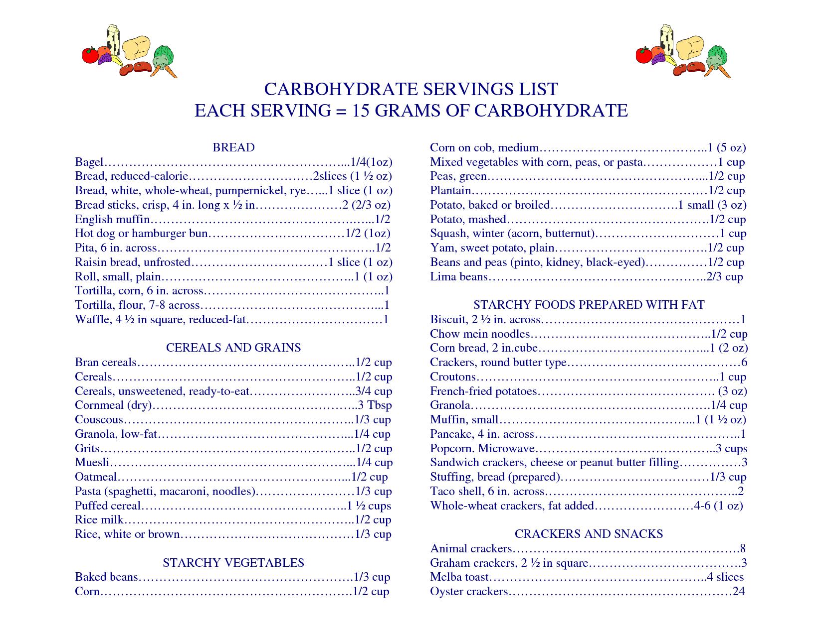 Free Print Carb Counter Chart   Printable Carb   Nutrition Info - Free Printable Carb Counter Chart