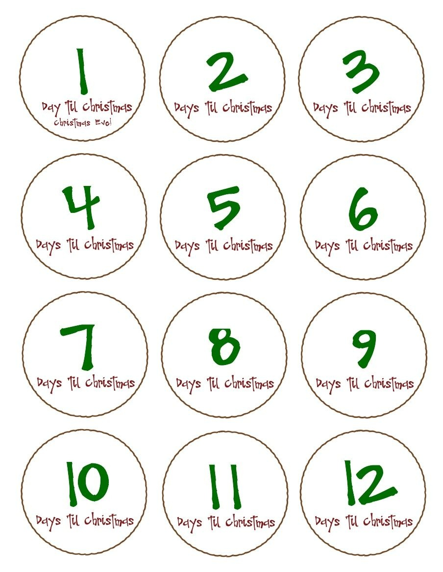 Free, Printable '12' Days Till Christmas Countdown Tags. Pdf To - Free Printable 12 Days Of Christmas Gift Tags