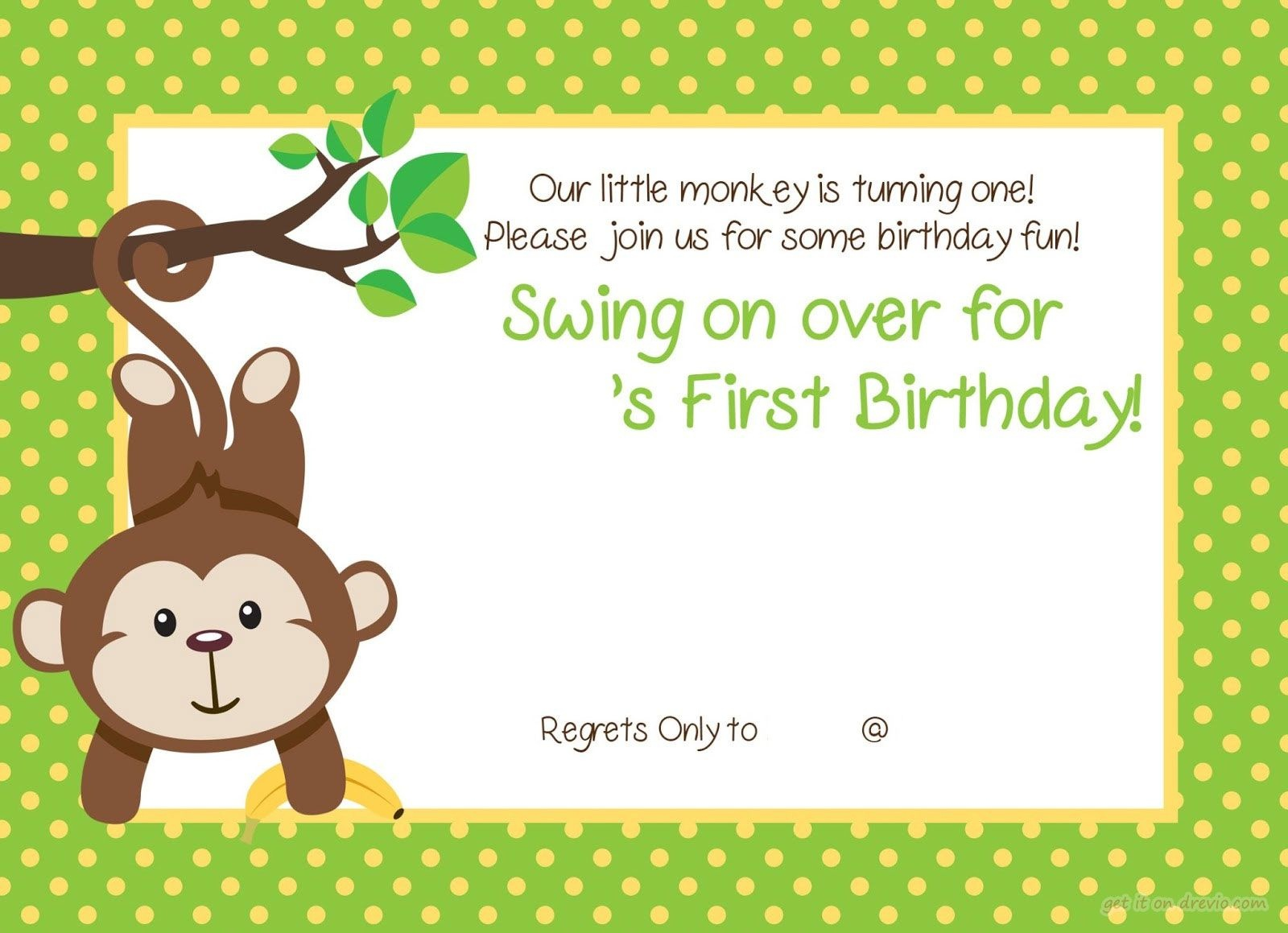 Free Printable 1St Monkey Birthday | Birthday Invitation For Kids - Jungle Theme Birthday Invitations Free Printable