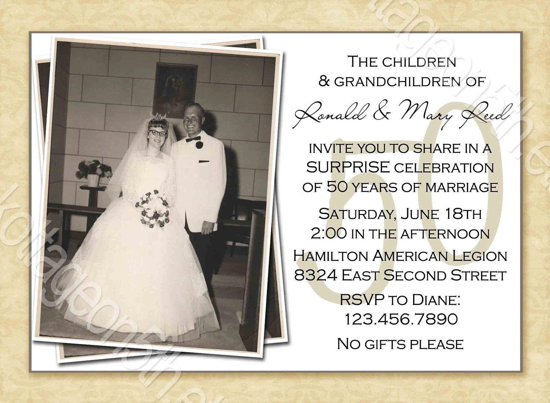 Free Printable 50Th Wedding Anniversary Invitation Templates - Free Printable 50Th Anniversary Cards