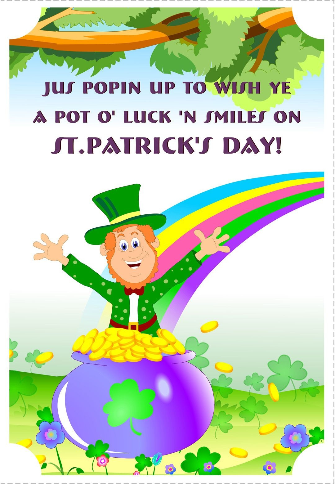 Free Printable A Pot Of Luck St Patrick's Greeting Card   Printable - Free Printable St Patrick's Day Card