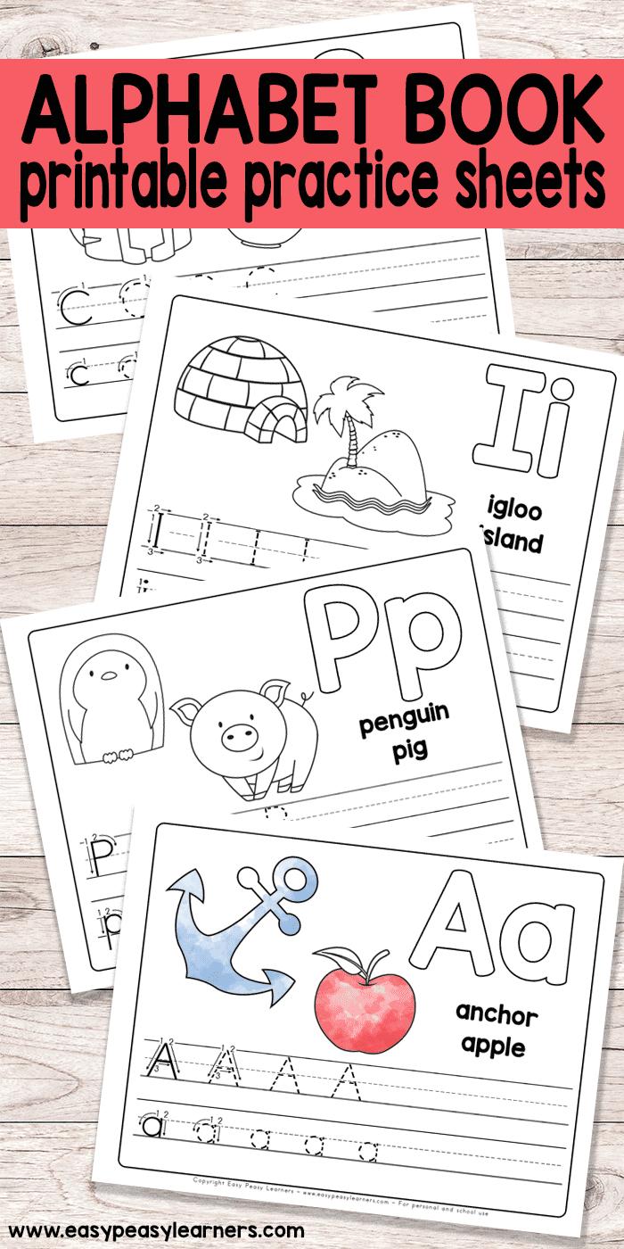 Free Printable Alphabet Book - Alphabet Worksheets For Pre-K And K - Free Printable Alphabet Worksheets