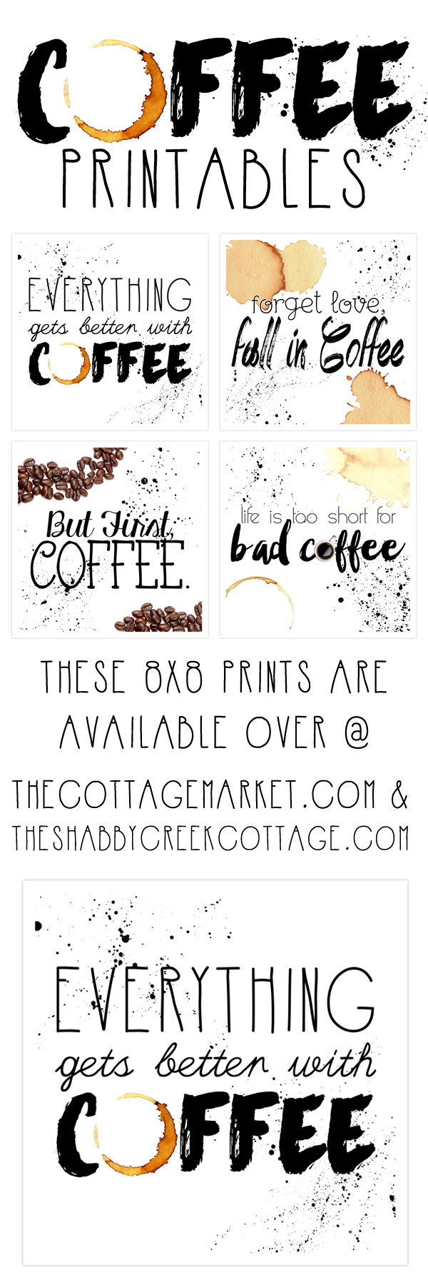 Free Printable Art: The Coffee Collection - The Cottage Market - Free Coffee Printable Art