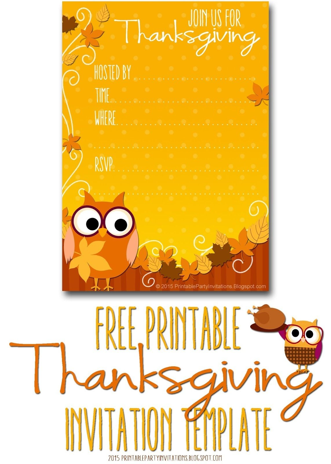 Free Printable Autumn Owl Thanksgiving Invitation Template | Party - Free Printable Thanksgiving Invitation Templates
