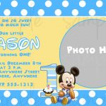 Free Printable Baby Mickey Mouse 1St Birthday Invitations | Jakes   Free Printable Mickey Mouse 1St Birthday Invitations
