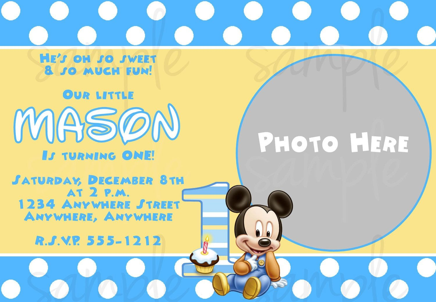 Free Printable Baby Mickey Mouse 1St Birthday Invitations | Jakes - Free Printable Mickey Mouse 1St Birthday Invitations