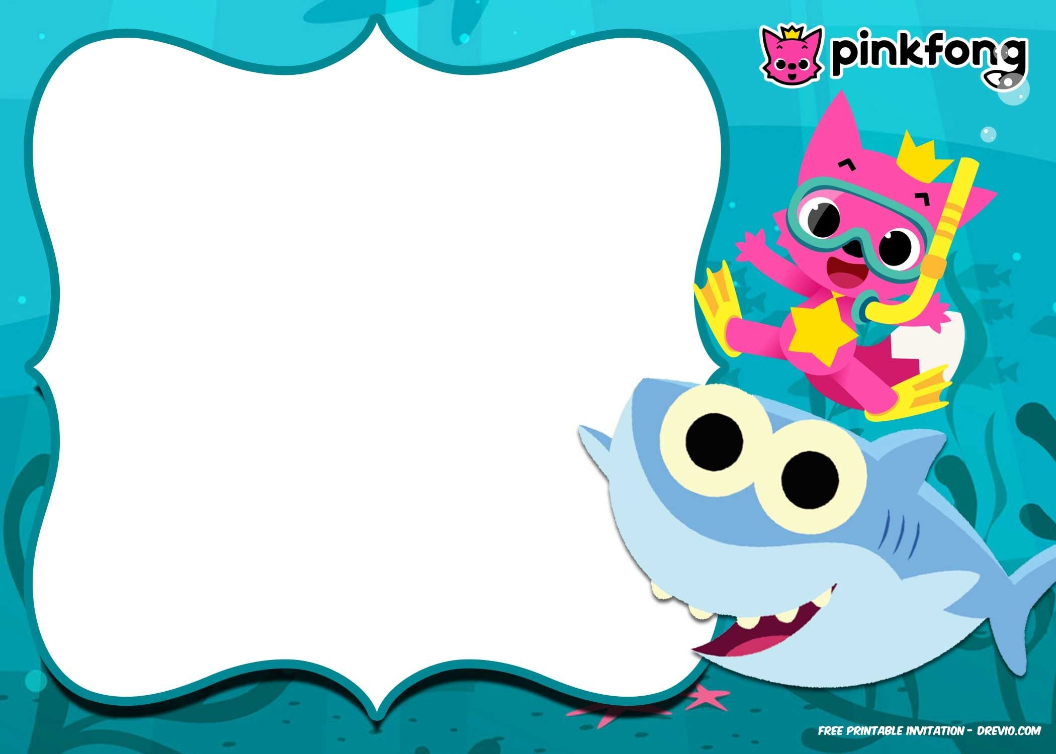 Free Printable Baby Shark Pinkfong Birthday Invitation Template - Shark Invitations Free Printable