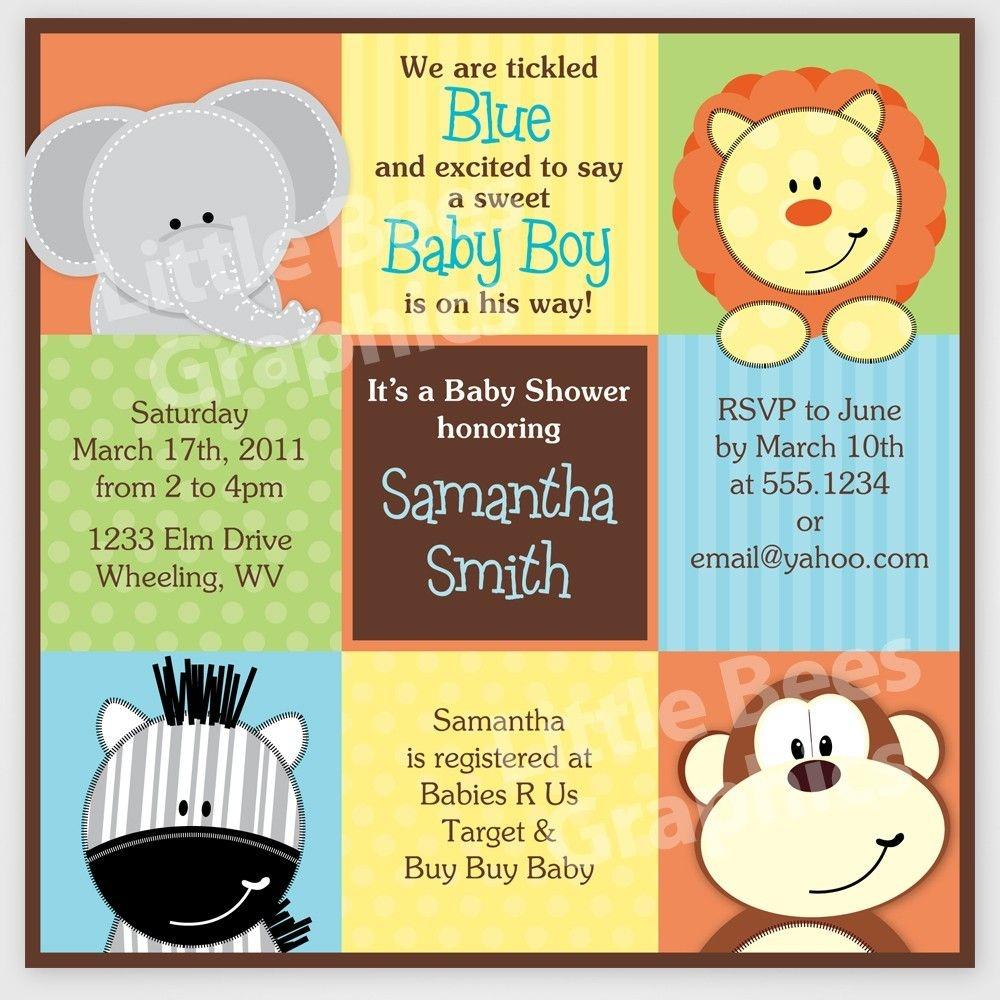 Free Printable Baby Shower Invitations | Stylish Jungle Animals - Jungle Theme Birthday Invitations Free Printable