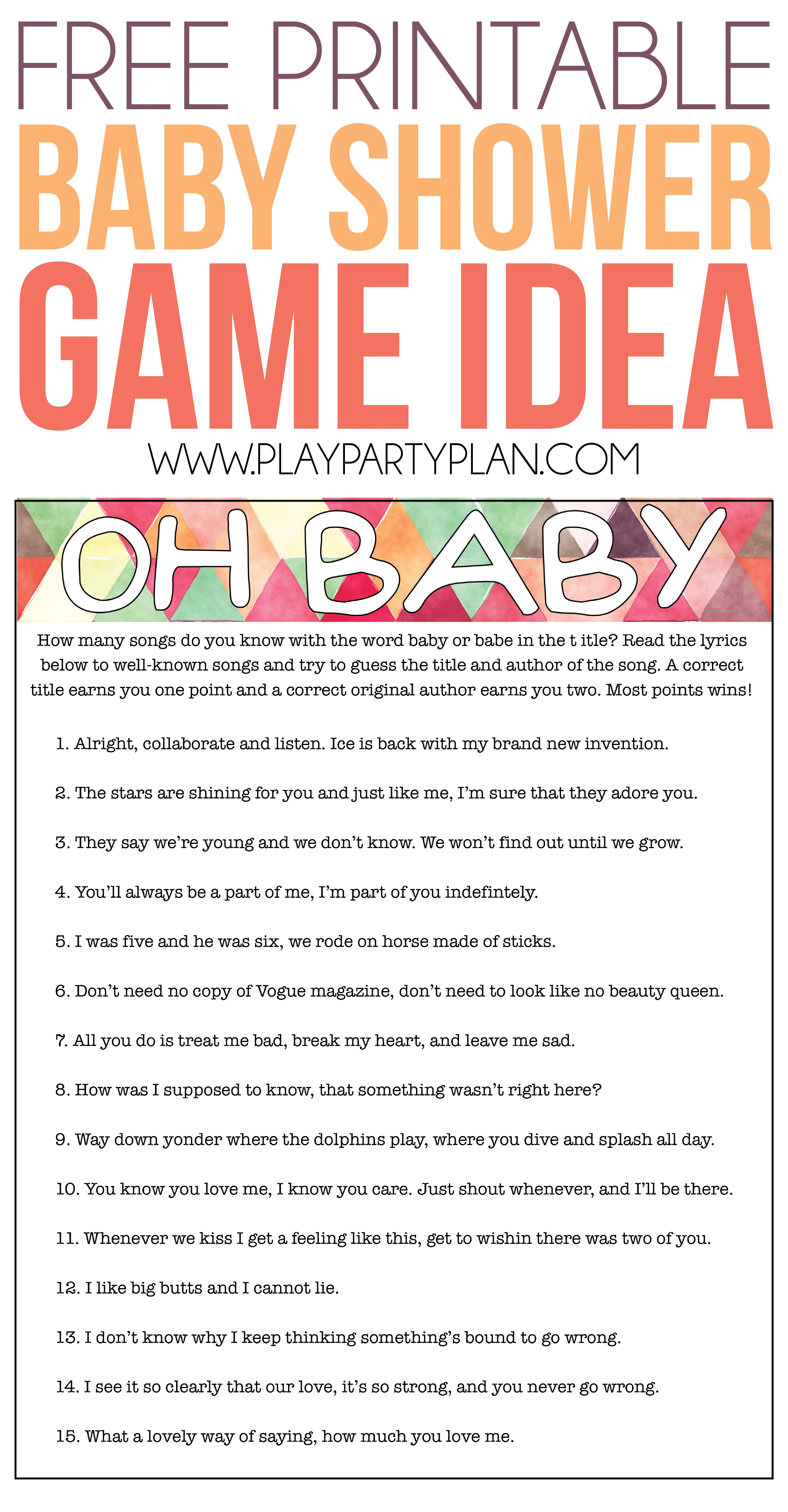 Free Printable Baby Shower Songs Guessing Game - Play Party Plan - Free Printable Baby Shower Games With Answer Key