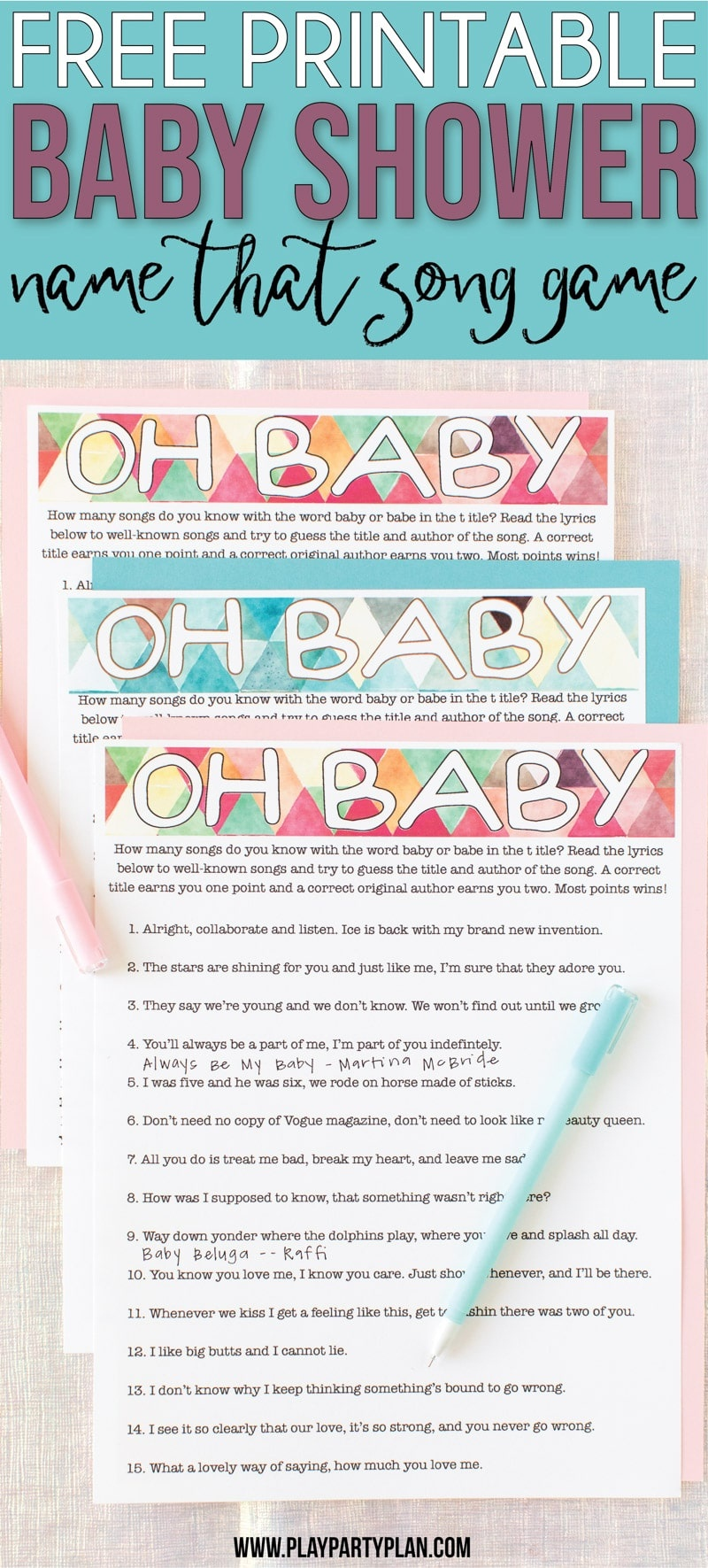 Free Printable Baby Shower Songs Guessing Game - Play Party Plan - Name That Tune Baby Shower Game Free Printable