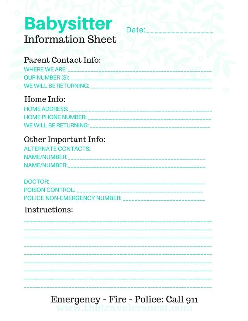 Free Printable: Babysitter Info Sheet | Note To Self | Free - Free Printable Parent Information Sheet