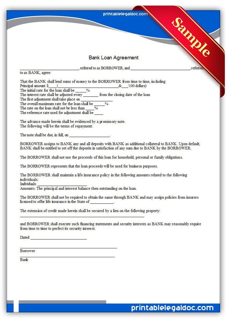 Free Printable Bank Loan Agreement   Sample Printable Legal Forms - Free Printable Legal Documents