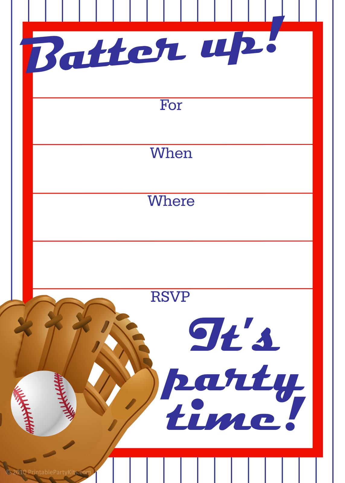 Free Printable Baseball Party Invitation   Party Printables - Free Printable Baseball Stationery