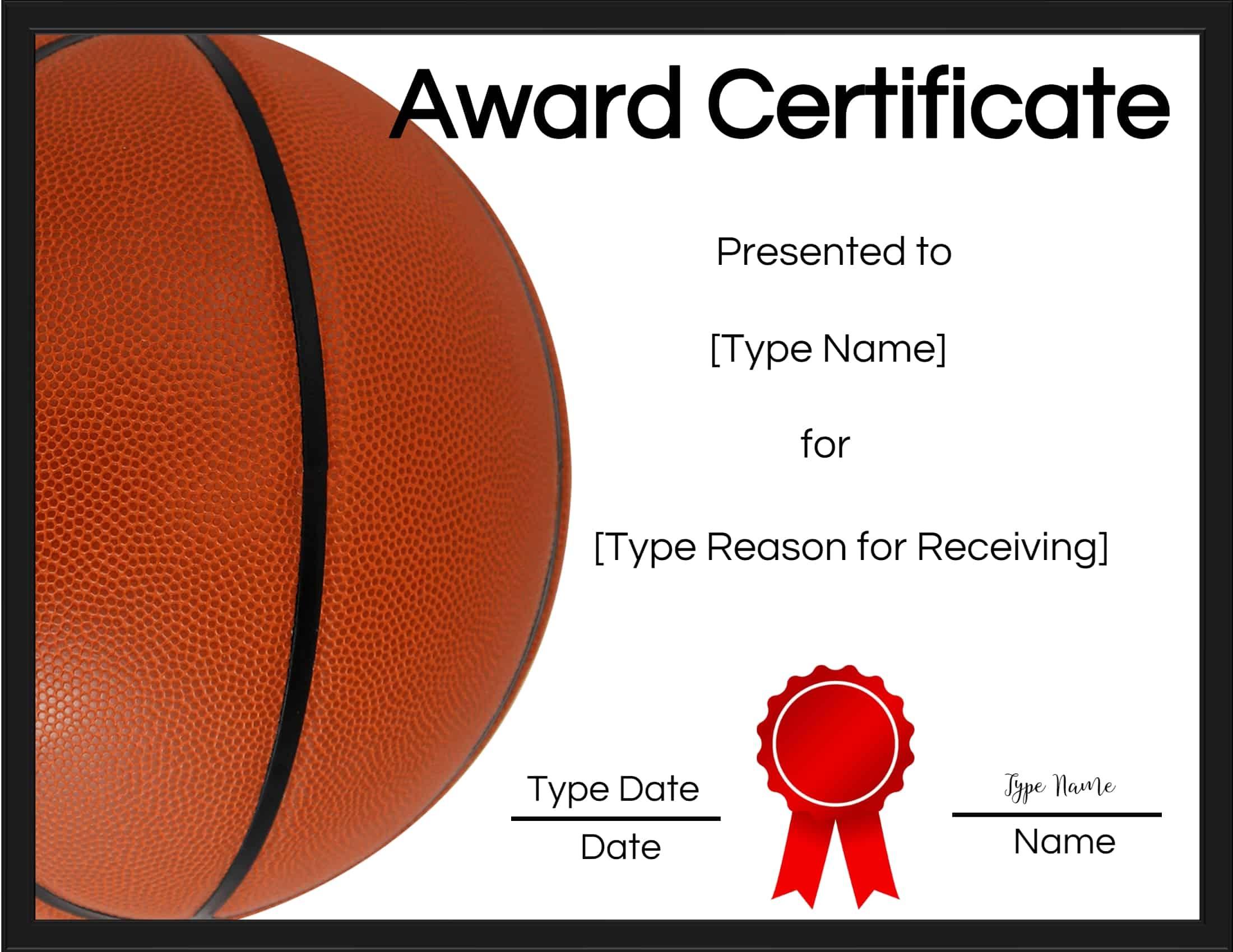 Free Printable Basketball Certificates | Customize Online - Free Printable Soccer Certificate Templates