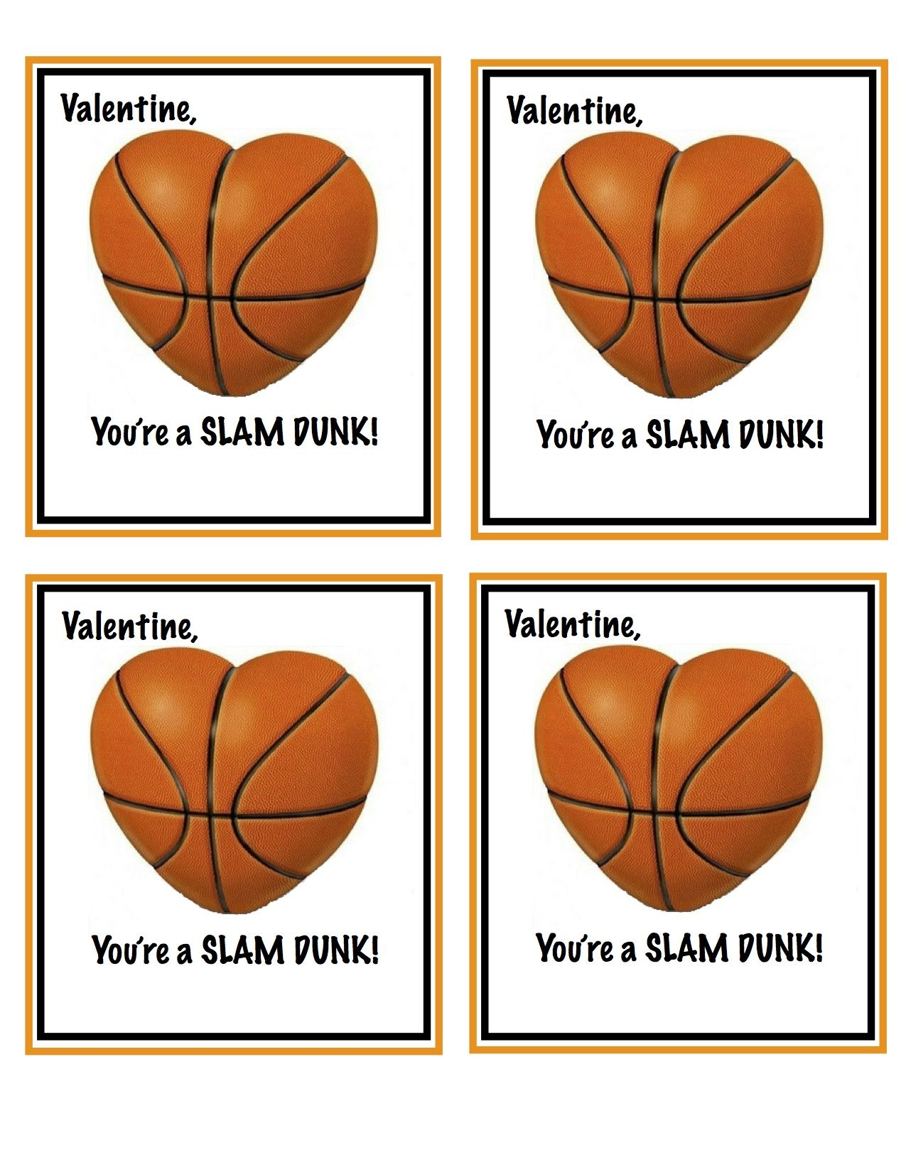 Free Printable Basketball Valentines | Valentines | Homemade - Free Printable Basketball Cards
