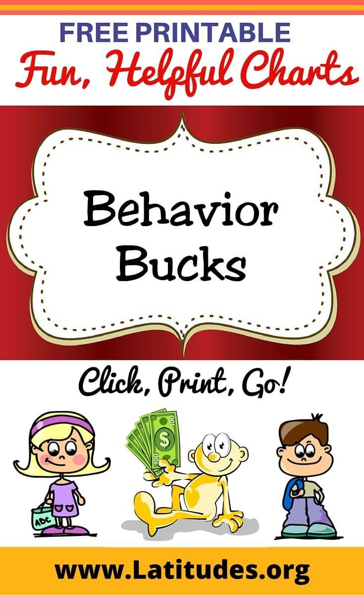Free Printable Behavior Bucks For Kids | Behavior Charts | Toddler - Free Printable Chore Bucks