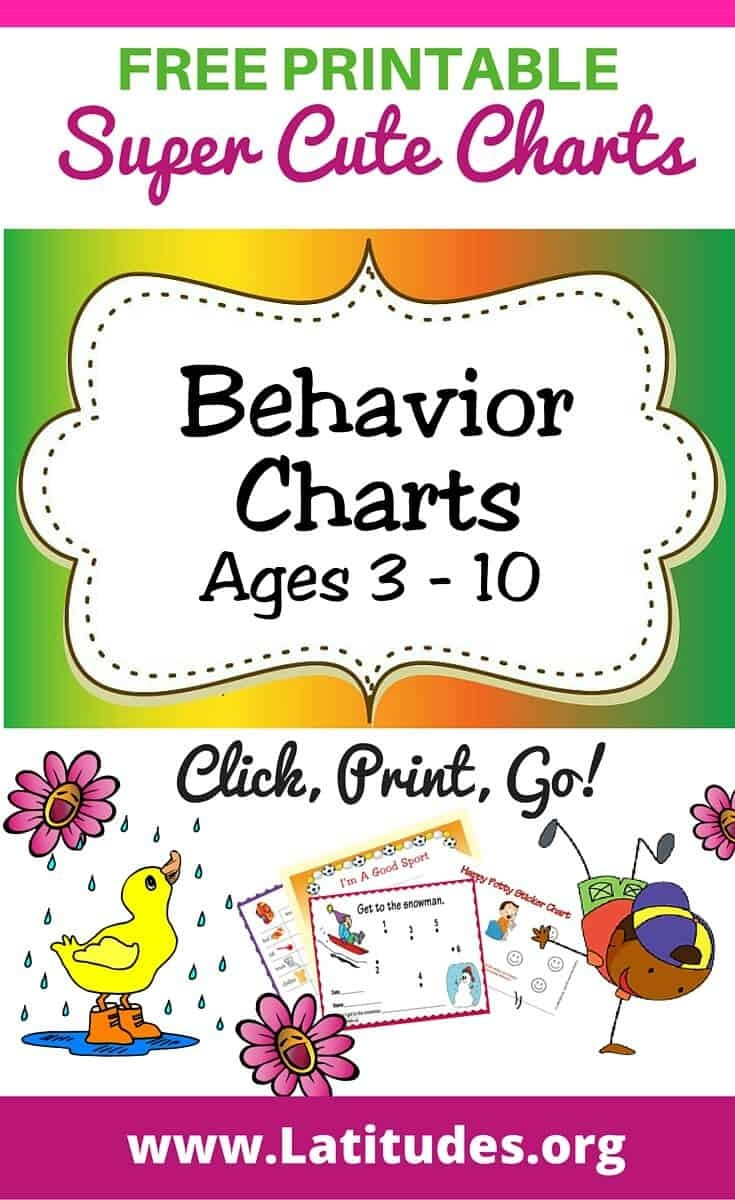 Free Printable Behavior Charts (Ages 3-10) | Acn Latitudes - Free Printable Behavior Charts