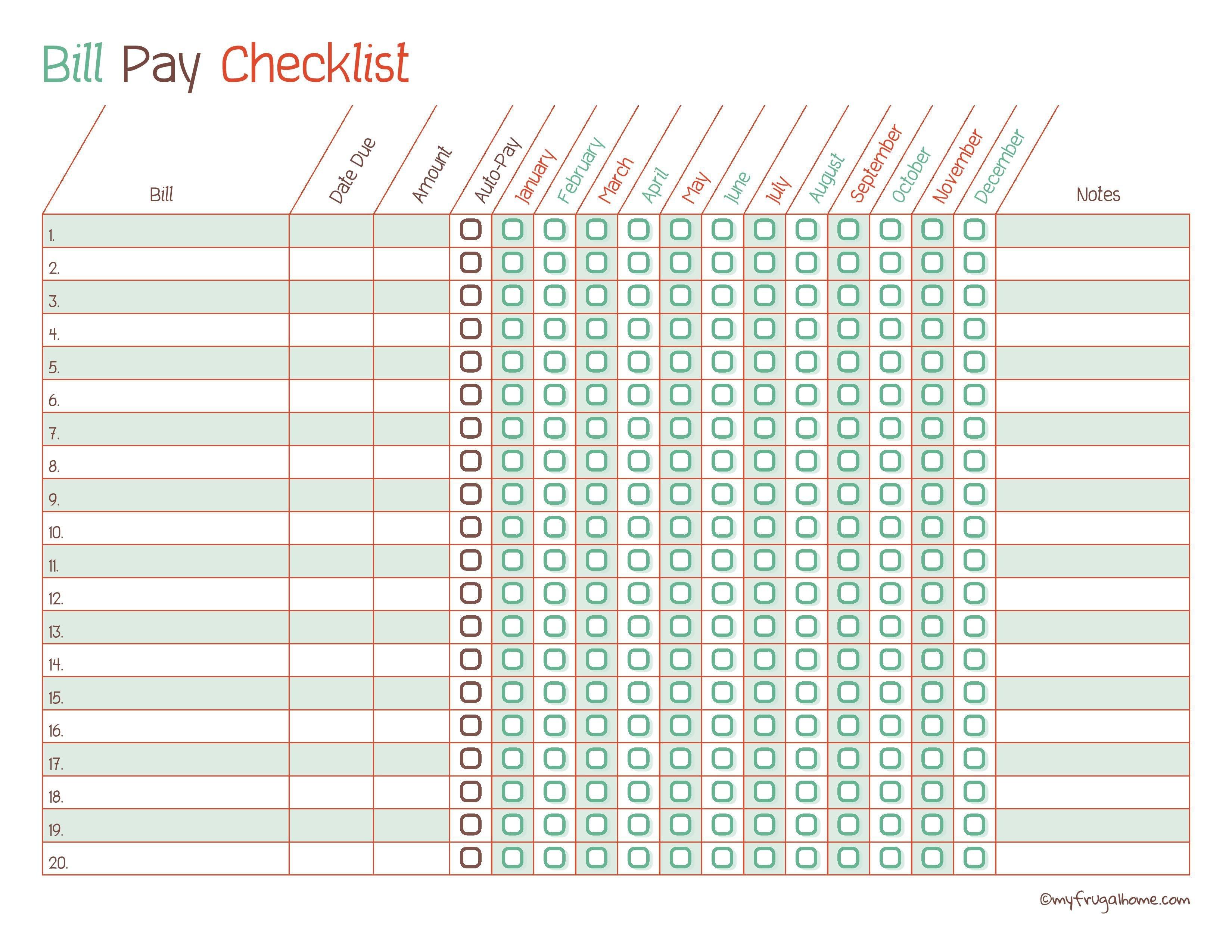 Free Printable Bill Pay Calendar Templates - Free Printable Bill Checklist