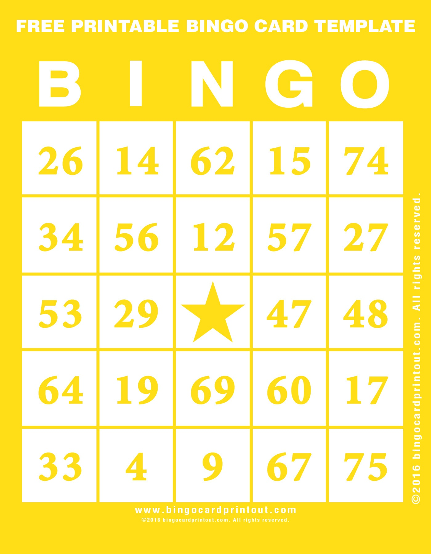 Free Printable Bingo Card Template - Bingocardprintout - Printable Bingo Template Free