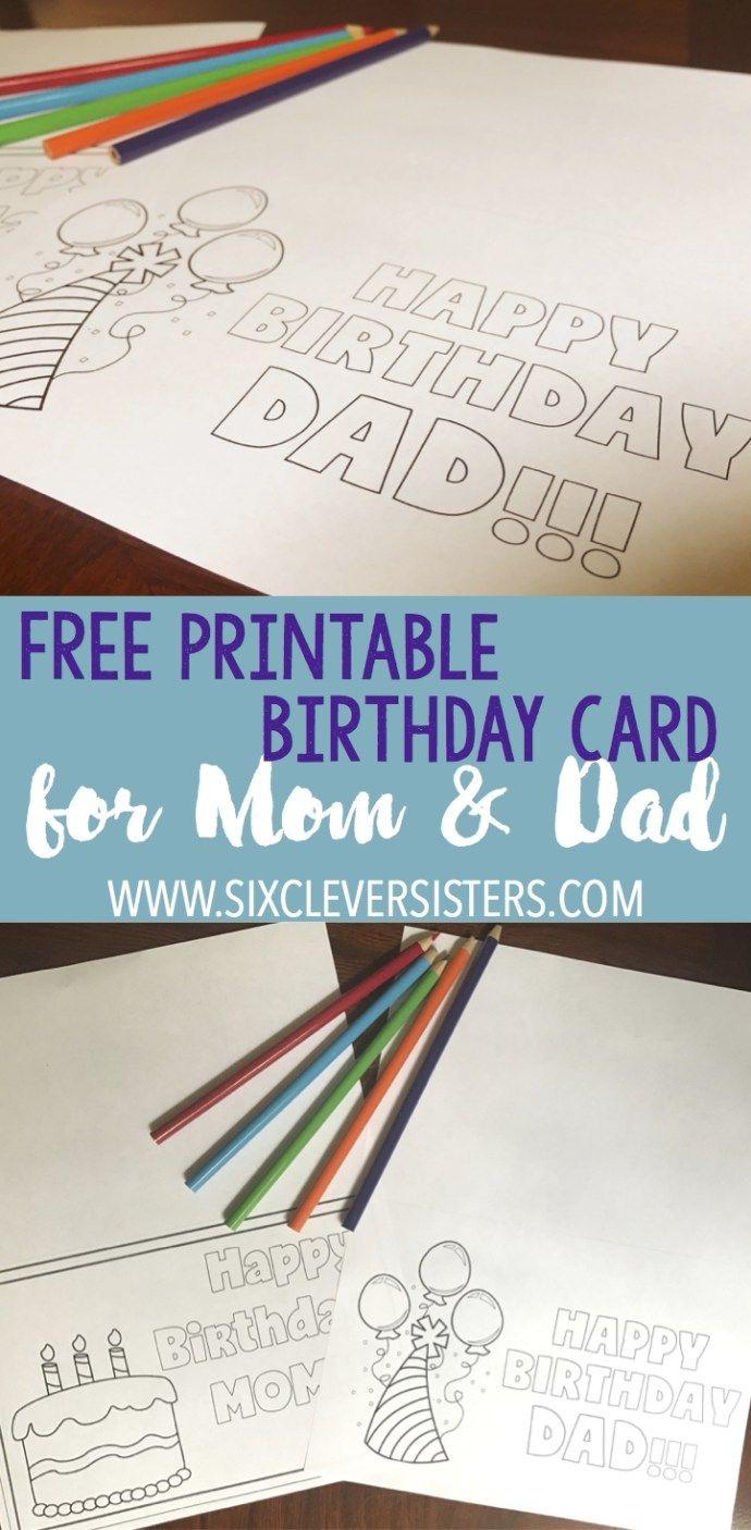 Free Printable Birthday Cards To Color | Dad Card | Free Printable - Free Printable Birthday Cards For Dad