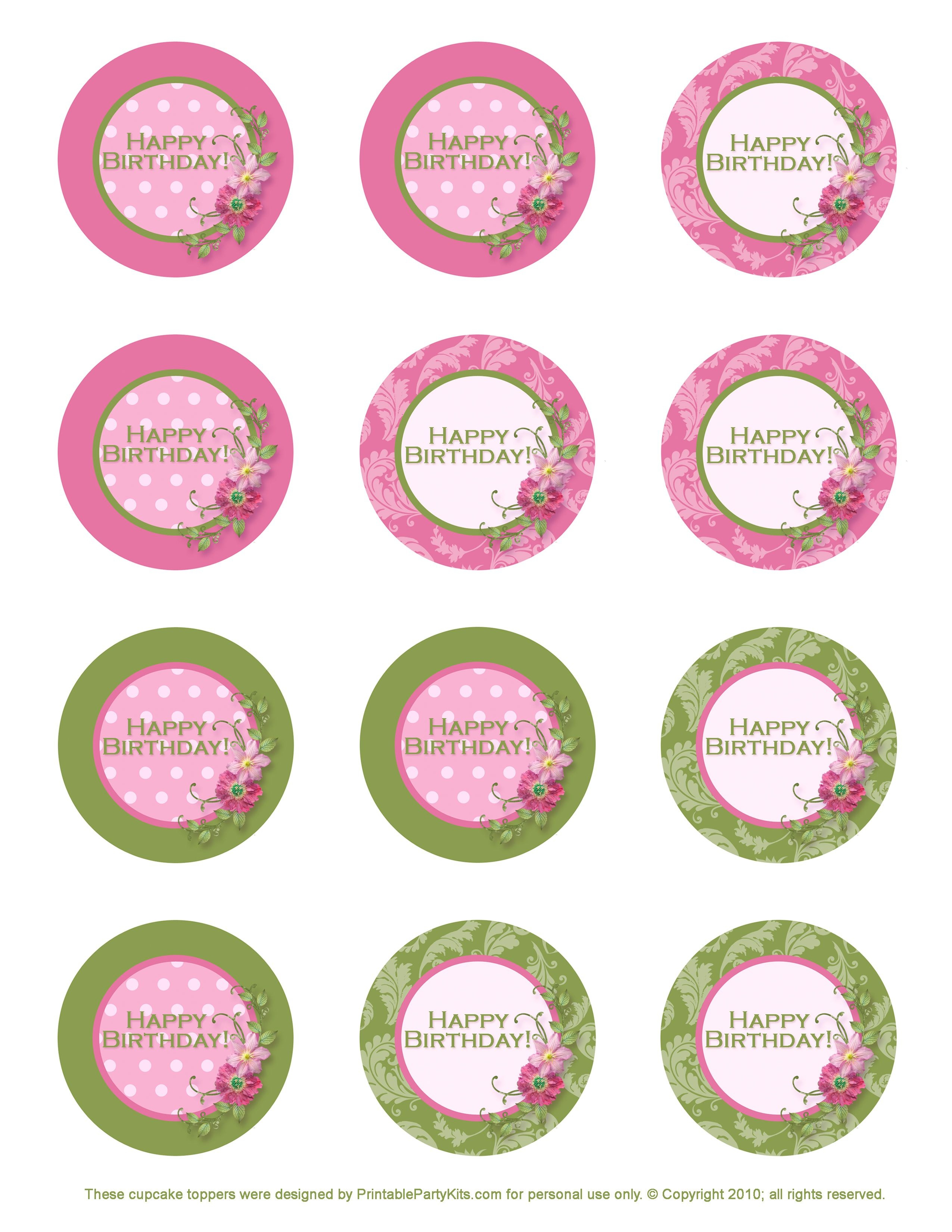 Free Printable Birthday Cupcake Toppers | Crafts | Birthday Cupcakes - Cupcake Topper Templates Free Printable