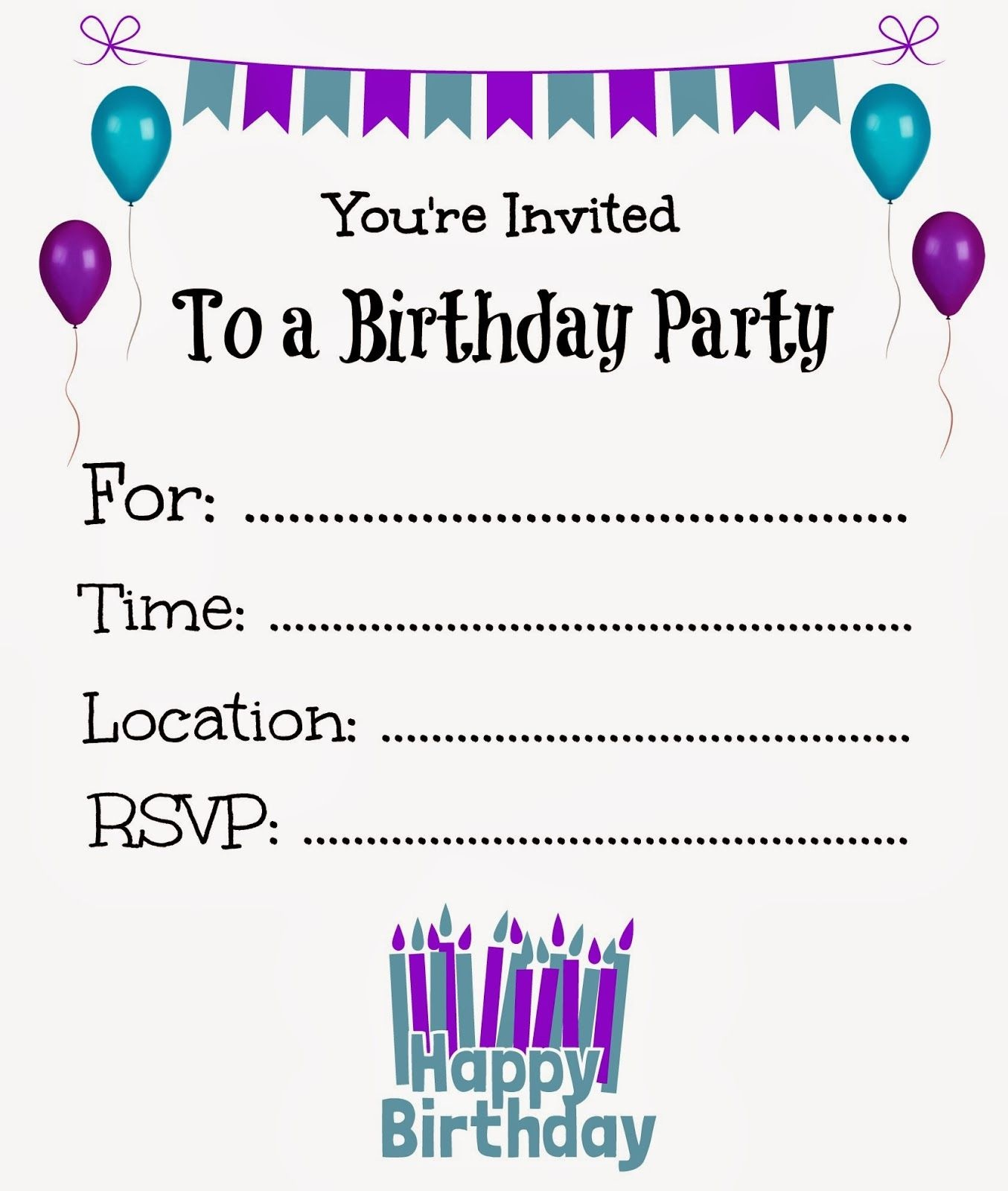 Free Printable Birthday Invitations For Kids #freeprintables - Make Your Own Birthday Party Invitations Free Printable